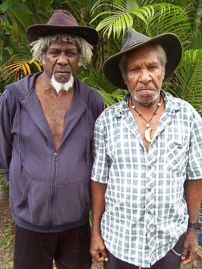 "Yadaikana Tribal Group of Elders spokesman Meun Lifu (right) and Elder Allan Savage. "" Nobody asked us about an ILUA over the PDR."""