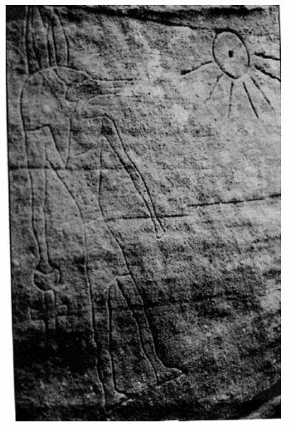 This petroglyph found in NSW, of Anubus; is an Egyptian deity, son of Osiris who conducted the dead to judgement
