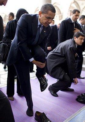 Obama entering a Mosque