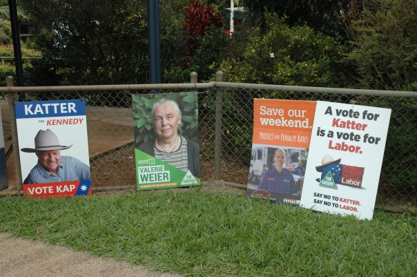 Voters saw through the misleading election sign displayed by the LNP at various polling booths on Saturday, returning Katter with an 11 per cent swing