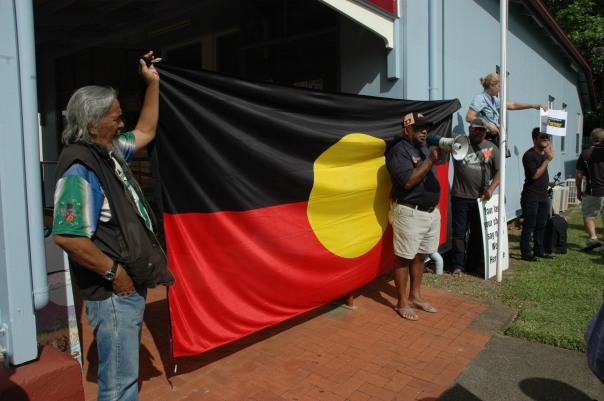 Indigenous protesters Duncan McInnes, Mareeba and Chairman of the Cape York Alliance Rod Burke