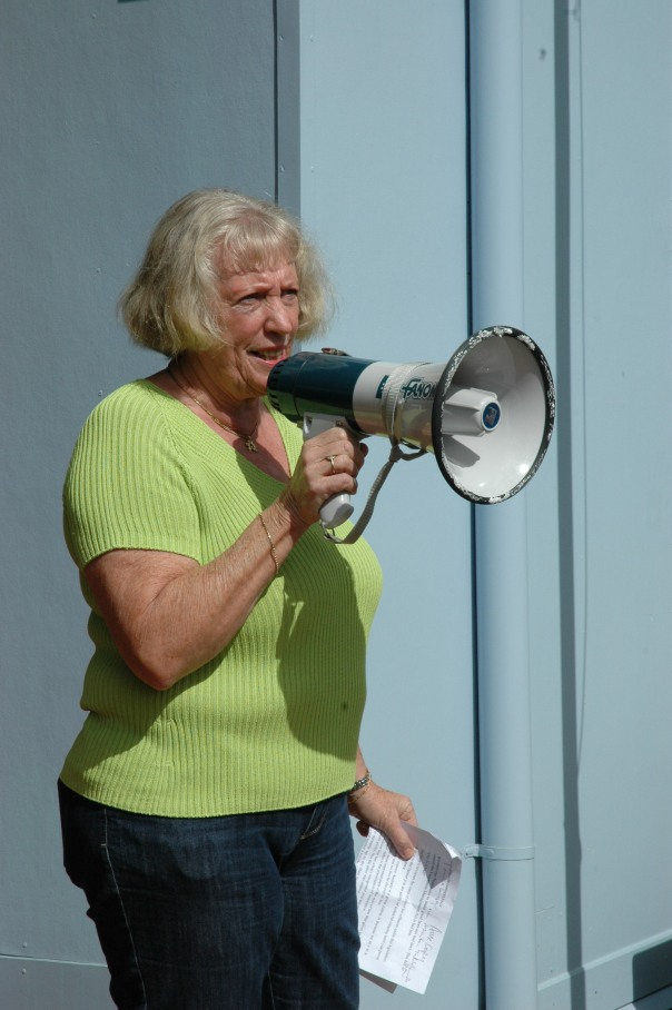 Atherton solicitor Anne English on the doorstep of Curtis Pitt's office told the rally the new laws turned farmers into criminals by reversing the onus of proof and removing the centuries-old 'mistaken belief' principle as a defence if trees are cleared.